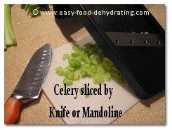 Celery sliced on Mandoline