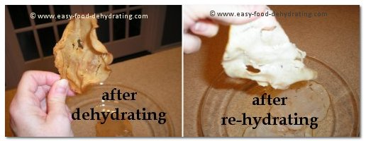 chicken after dehydrating and then after rehydrating