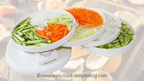 Food dehydrator loaded with vegetables