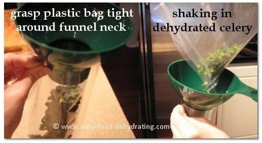 how to use the canning funnel to fill vacuum bags