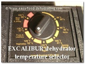 EXCALIBUR temperature selector
