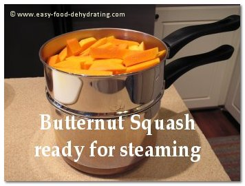 Butternut Squash ready for steaming