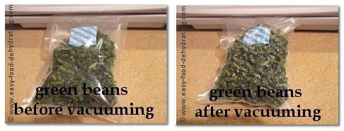 Green beans before and after vacuuming