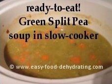 green split pea soup ready in slowcooker