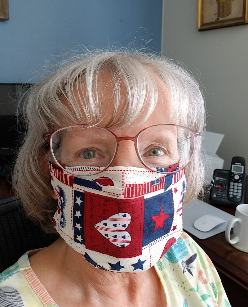 Susan wearing face mask by Puranco at Etsy