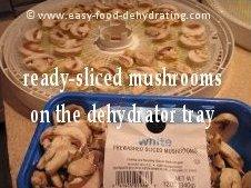 Mushrooms sliced on dehydrator