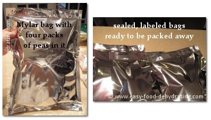 Mylar bags packed with peas, ready to store away.