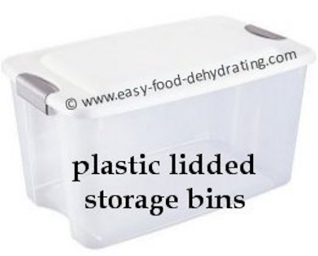 plastic lidded storage bins