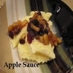 Apple Sauce over Ice Cream in a dish