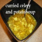 Curried Celery and Potato Soup in a bowl