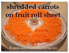 shredded carrots on dehydrator