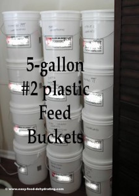 5-gallon, #2 plastic food-grade feed buckets with lids