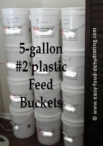 5-gallon #2 feed buckets with lids.