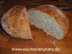 herb bread cut in half