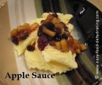 Apple Sauce over Vanilla Ice Cream