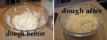 bread in the mixing bowl before and 2 hrs later