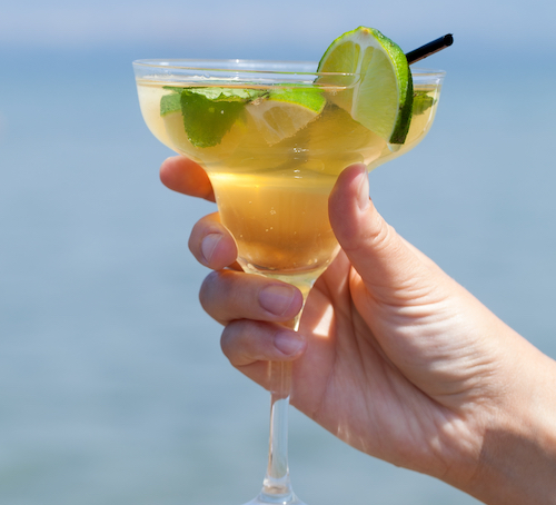 cocktail with lime wedge