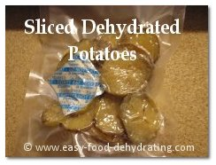 Dehydrated sliced potatoes