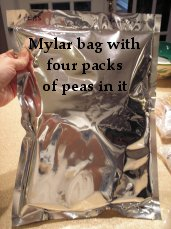 Mylar bag with four packets of dehydrated peas inside