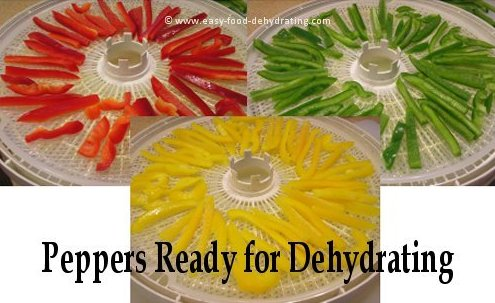 Peppers on Nesco dehydrator trays