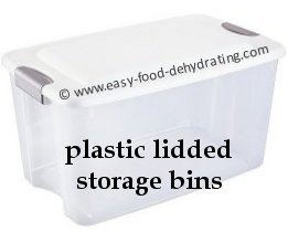 Plastic Lidded storage bins. Good for storing dry goods.