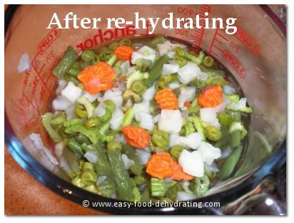 Dehydrated vegetables AFTER re-hydrating