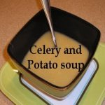 Celery and Potato Soup in a bowl