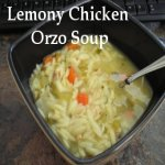 Lemony Chicken Orzo Soup in a bowl