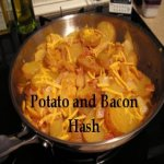 Potato and Bacon Hash cooking in a pan