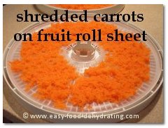 Shredded carrots on Nesco dehydrator tray