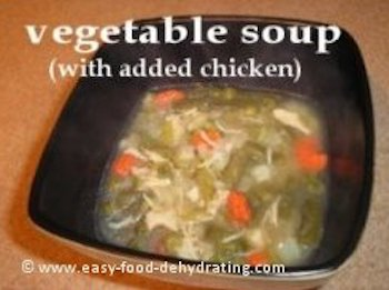 Dehydrated Vegetable soup (with added chicken)